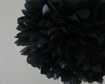 Black .. Tissue Paper Pom / Wedding Decor / Bridal Shower / Birthday / Anniversary / Party Decoration