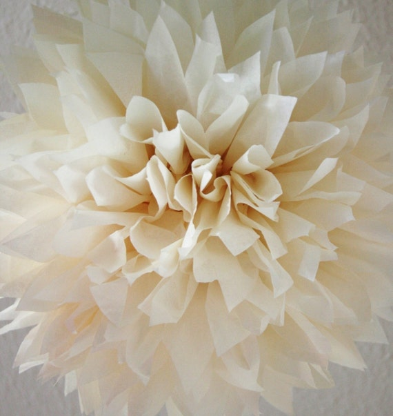 French Vanilla Tissue Paper Pom .. Wedding Decoration / Anniversary / Birthday / Party Decoration