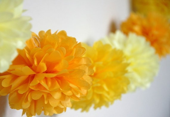 Sunshine - Party Pom Garland .. featured in Brides magazine