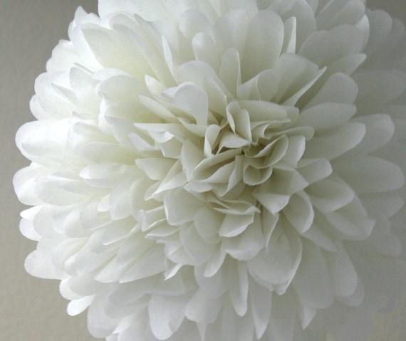 Ivory Tissue Pom Pom .. Baptism Decor / Wedding Decoration / Bridal Shower / Birthday / Party Decoration
