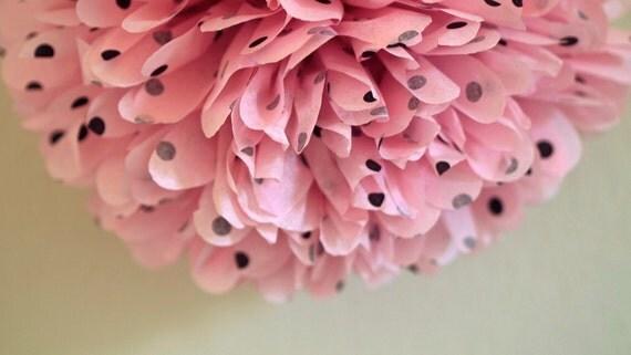 Pink / Black Polka Dot Tissue Pom Pom .. Wedding / Birthday / Baby Shower / Baptism /  Party Decoration / DIY