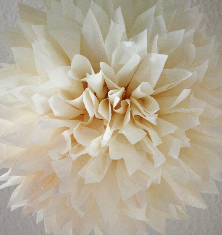 french vanilla tissue paper pom wedding decoration. Black Bedroom Furniture Sets. Home Design Ideas
