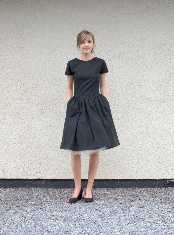 Little Black Organic T Shirt Dress - made to order