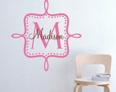 Personalized Wall Decal Monogram Name and Initial Custom Vinyl Wall Stickers Art Boy Girl Baby Nursery - Item 113