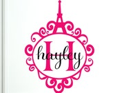 Personalized Wall Decal Monogram Paris Eiffel Tower French Decal Stickers - Item 076