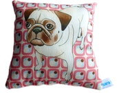 Lavender mini cushion featuring Pug dog 15cm