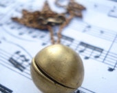 vintage brass ball locket necklace - youve got your ball - last one