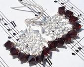 blood red Swarovski crystal and silver chandelier earrings - walking dead