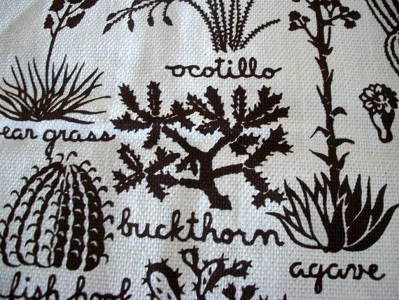 Vintage Harwood Steiger Cactus Desert Garden Cream Brown Linen Southwest Plants Nature Modern Art