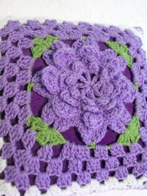 SALE REDUCED Vintage Purple Crocheted Handmade Flower Pillow