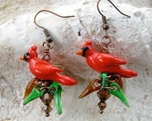 Cardinal and Pine Needle Earrings - Lampwork Bead Art