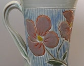 Carved Porcelain Cup - Spring Flowers