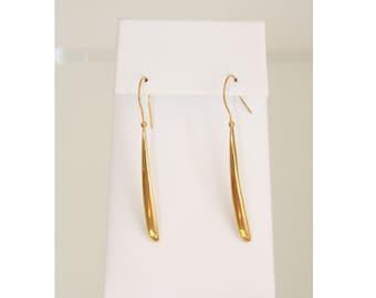 18k Long Drop Earrings ( Gold on Sterling Silver)