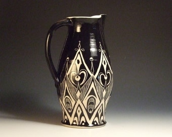 Extra Large Sgraffito Pitcher in Black and White Geometric Design