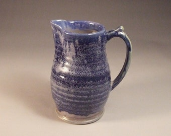 Wheel Thrown Stoneware Pitcher in Blue Lapis and Blue Purple Glazes