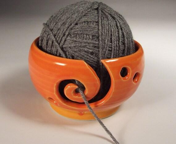 Yarn Bowl in Tangerine Orange Glaze with Spiral  thrown on Potter's Wheel- Ready To Ship