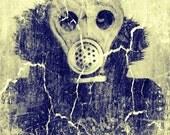 Gas Mask Digital Photography - 6 x 8 Metallic Print