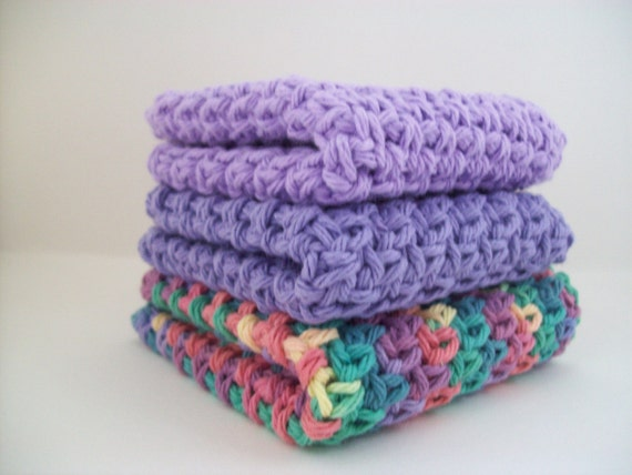 Violet, Grape, Multi colored face cloth or dish rag