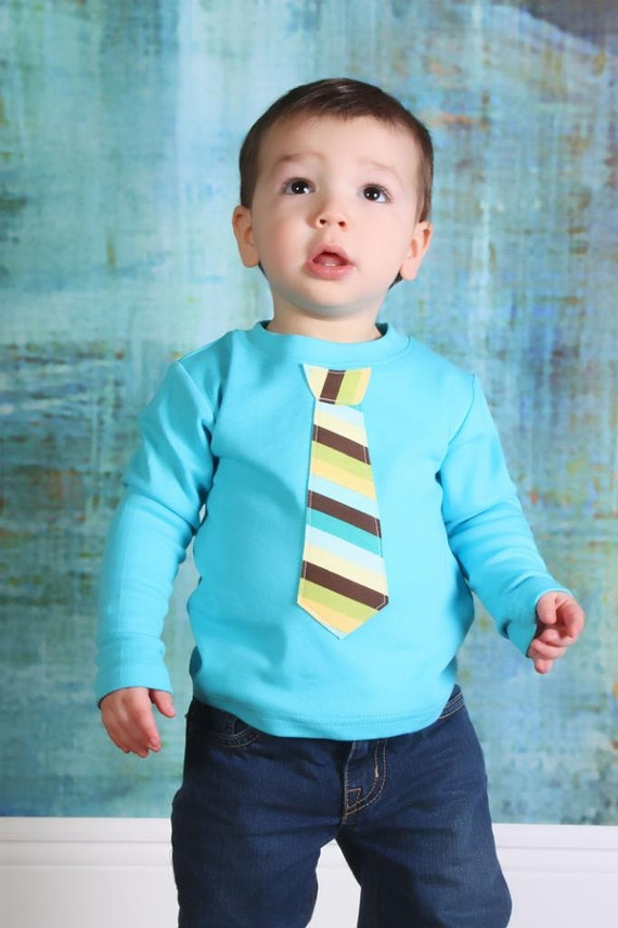 Fall, Winter Long Sleeve Tshirt - ANY TIE on Aqua/Turquoise Tee - Children, Youth, Toddler, Infant, Big Brother Sizes 12m, 18m, 2, 4, 6, 8