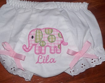 Custom Boutique Elephant BLOOMER Diaper Cover FREE MONOGRAM