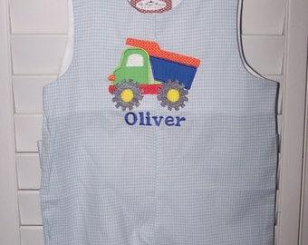 Personalized Truck Jon Jon Blue Gingham Shortall Monogram boys outfit