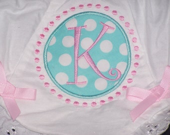 Custom Applique Monogram Bloomers Diaper Cover  Initial with Dots