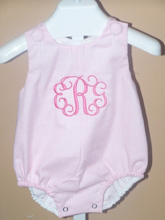 Personalized Pink Gingham Bubble Romper  Infant or Toddler with Monogram