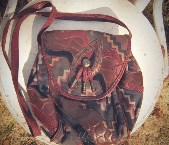 Vintage 80's South Western maroon patterned  tassled purse
