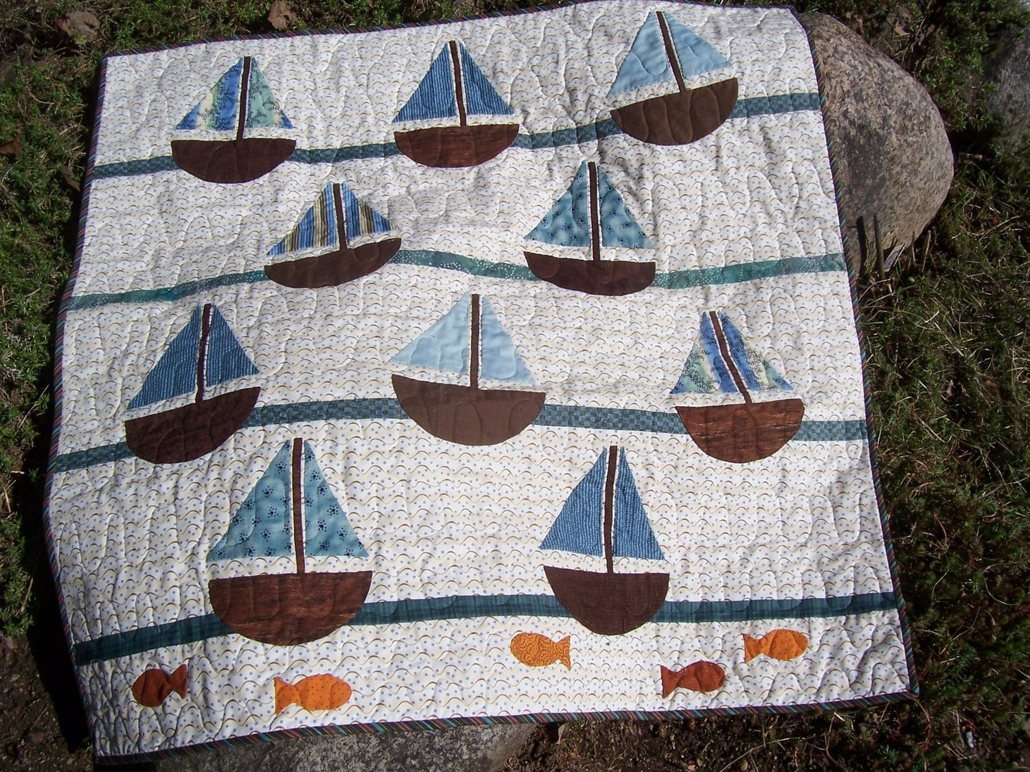 Baby Quilt Patterns For Boy : Sailboat Baby Quilt for Boys