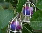 Bird Cage Earrings - Purple