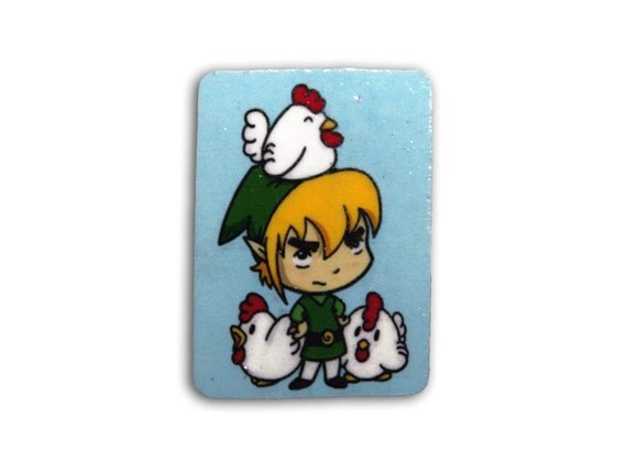 Link and Cuckoos Pin Badge - Legend of Zelda Fan Art