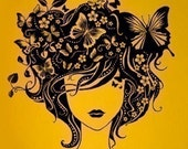 NEW DESIGN  Wall Art Home Decors Murals Vinyl Decals Stickers--Butterfly Girl
