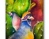 ACEO Art Print, Blue, Yellow, Red, Green, Birds, Southwest Arizona