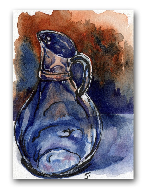 ACEO Original watercolor, blue, brown, glass, reflective