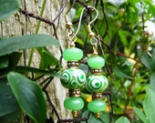 Green Dotted Lampwork and Stone Earrings