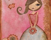 Mollie  - Petite Bohemienne Mixed Media Art Print 8x10