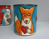 Fox Mug With Red Heart, Blue And Orange