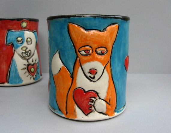 Fox Mug With Red Heart, Blue And Orange