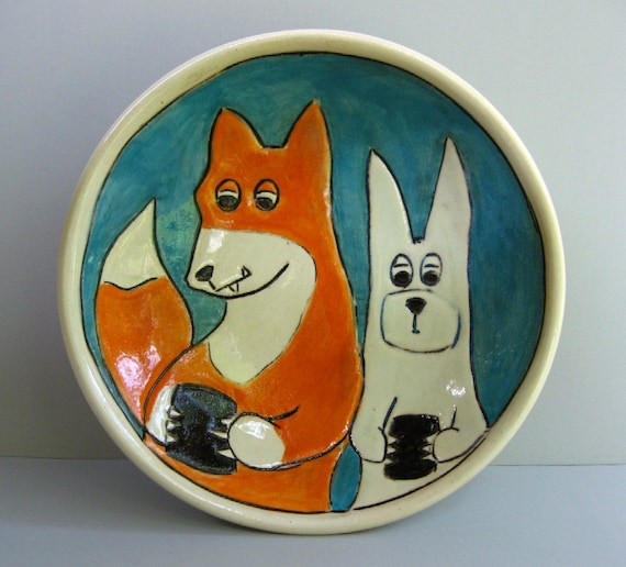Texting Fox Bowl With Rabbit, Blue, Orange