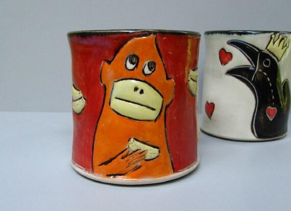 Monkey Mug, Red And Orange With Thoughtful Monkey