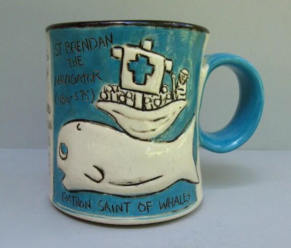 Patron Saint Mug, Whales, St. Brendan, Blue