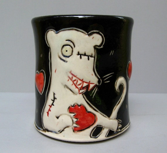 Zombie Rat Mug, Black with Red Heart