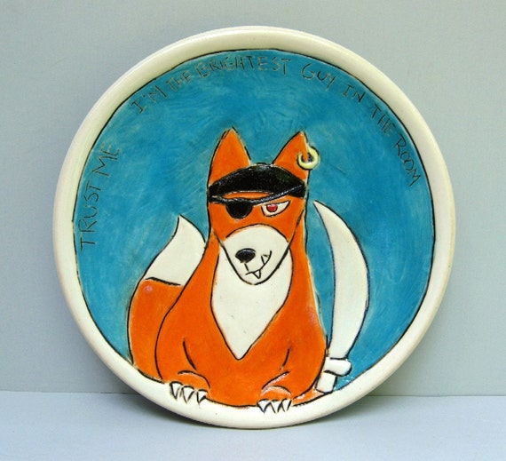 Pirate Fox Plate, Snack Plate With Blue And Orange