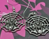 spooky spider web earrings
