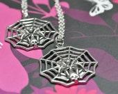 2 spooky spider web necklaces