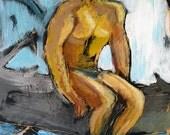 Swimmin Hole Orginal Encaustic Painting on Canvas