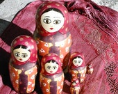 Japanese maiden seven piece matryoshka doll ooak hand painted
