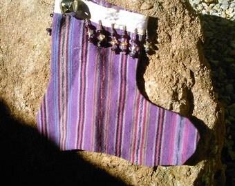 Purple multi vertical stripe mini stocking
