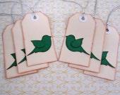 CHRISTMAS CLEARANCE Christmas Gift Tag with Green Bird set of 6