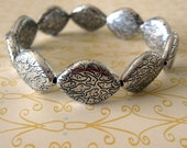Bracelet with Silver Patterned Beads